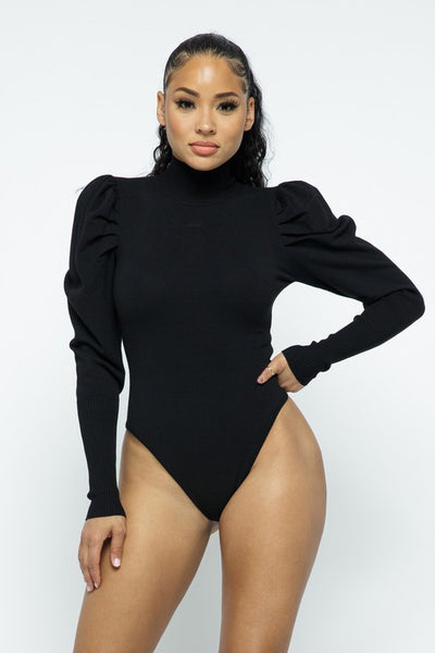 Mock Neck Puff Shoulder Bodysuit