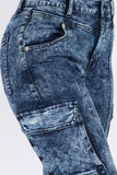 Washed High Rise Cargo Denim Jeans