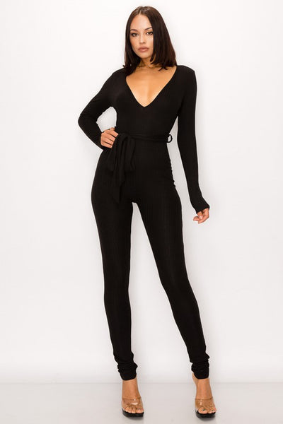 Long Sleeve Ribbed Jumpsuit with Tie Waist