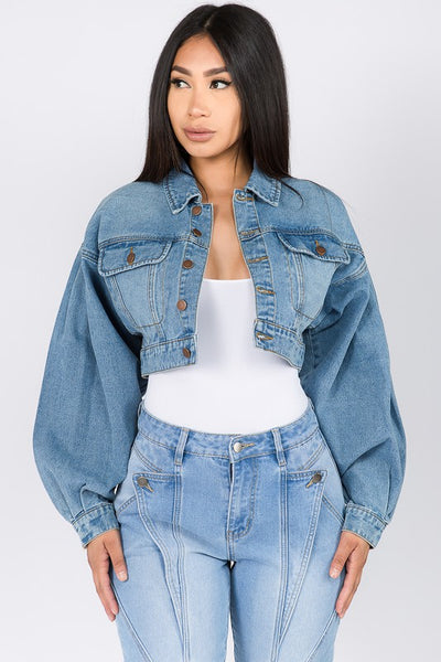 Balloon Sleeve Denim Cropped Jacket