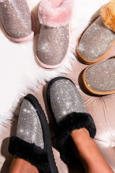 Rhinestone Furry Slide