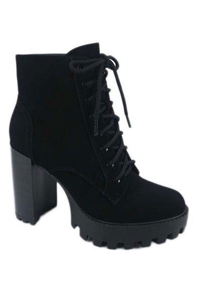 Lace Up Open Toe Chunky Heel Bootie
