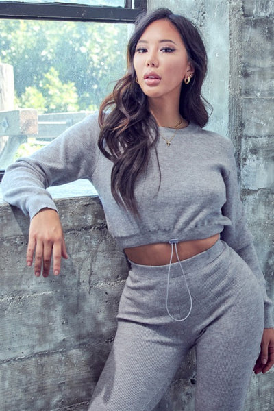 Long Sleeve Track Crop Top & Jogger Set