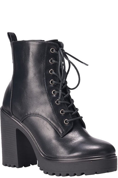 Lace Up Lug Sole Black Bootie