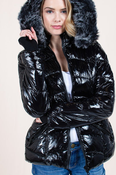 Shiny Woven Jacket with Fur Lined Hoody