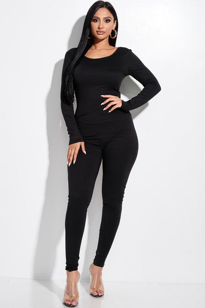 Solid DTY Brushed Long Sleeve Jumpsuit