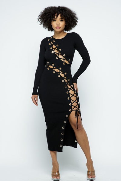 Big Grommet Long Sleeve Maxi Dress