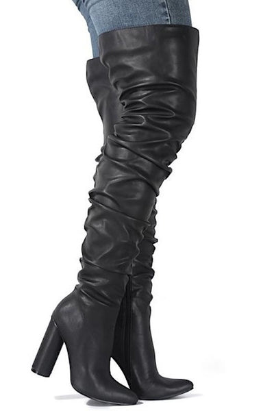 Black Thigh High Pointed Toe Boot