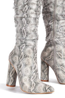 Snakeskin Thigh High Pointed Toe Boot