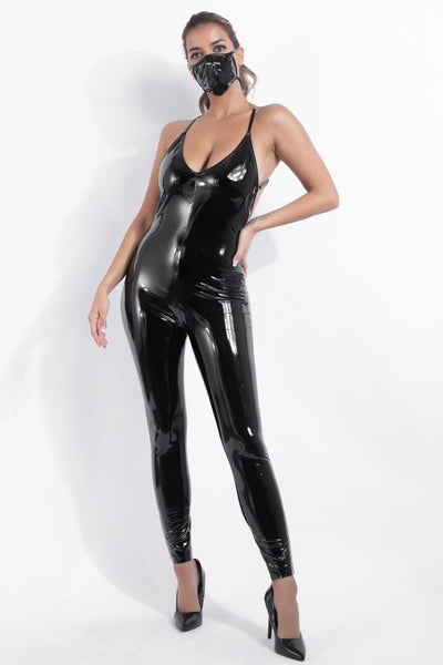 Patent Catsuit with Mask
