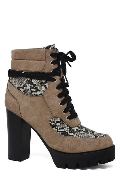 Snakeskin Chunky Heel Lace Up Bootie