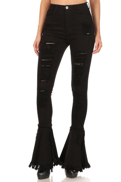 Destroyed Skinny Jeans with Bell Bottom Hem