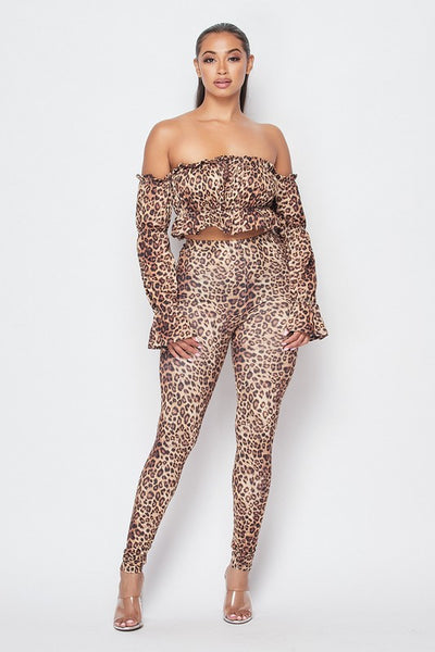 Leopard Long Sleeve Crop Top & Matching Tights Set