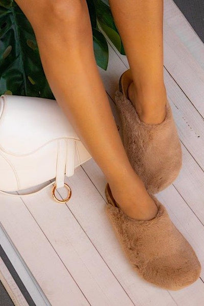 Fur Solid Color Slipper Slides