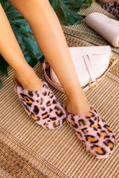 Faux Fur Leopard Slipper Slides