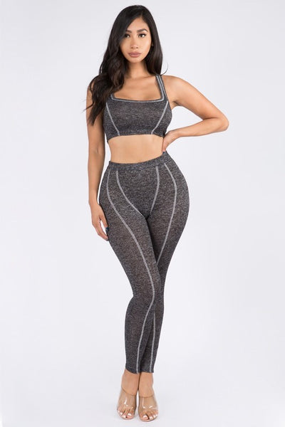 Sleeveless Stitched Crop Top & Pants Set