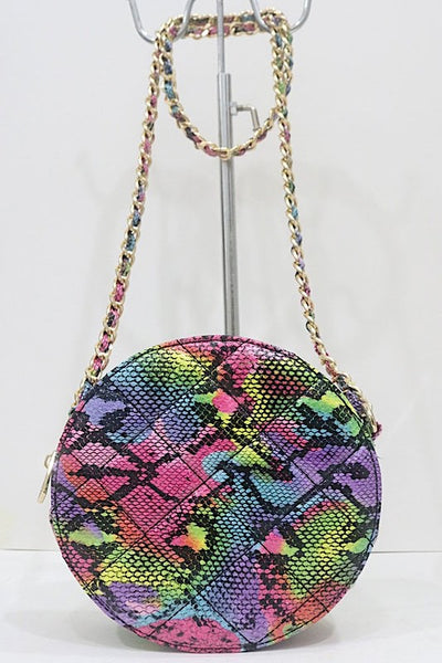 Snake Circular Quilted Crossbody Bag