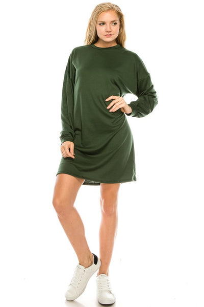 French Terry Long Sleeve Sweater Dress