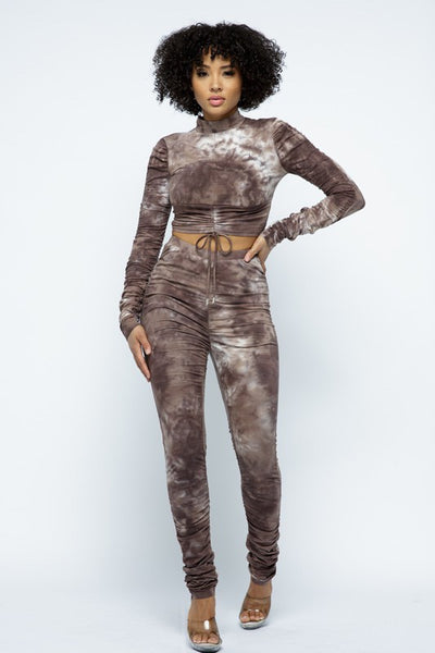 Tie Dye Long Sleeve Ruched Crop Top & Ruched Pants Set