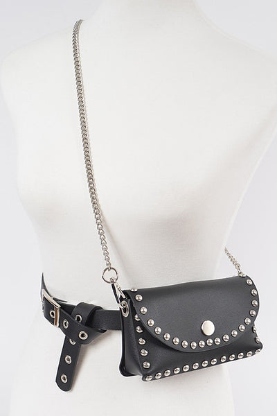 Belt With Studded Mini Bag