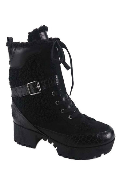 Crocodile Lace Up Platform Boot with Fur Vamp