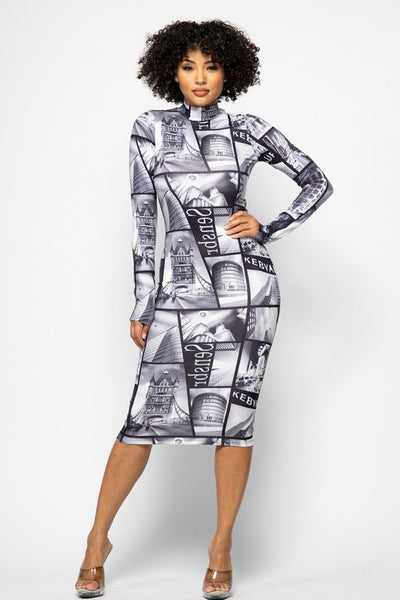 Vintage Long Sleeve Printed Dress
