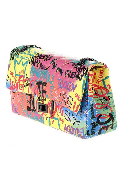 Graffitti Quilted Crossbody Bag