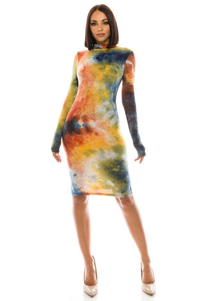 Tie Dye Long Sleeve Dress