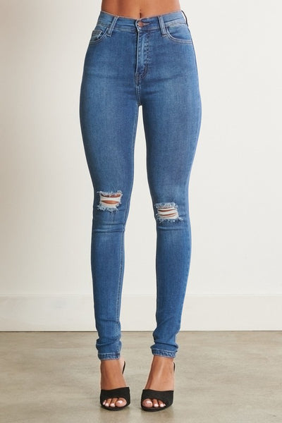 High Waisted Skinny Jeans with Holes in Knee
