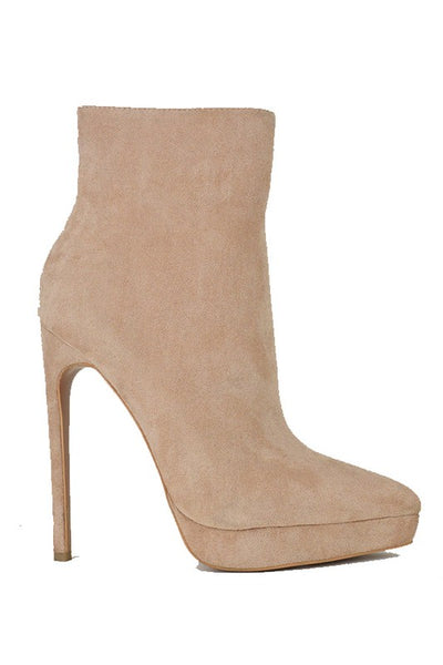 Suede Pointed Toe Short Bootie with Heel