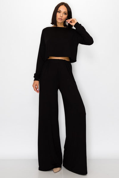 Long Sleeve Crop Top & Wide Leg Pant Set