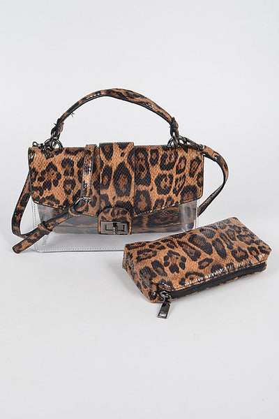 Leopard Clutch with Mini Purse