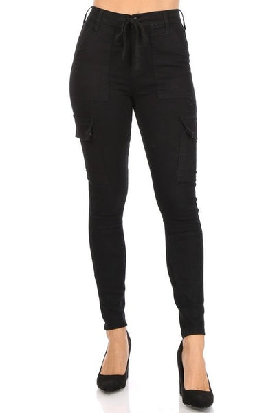 High Rise Cargo Skinny Jeans