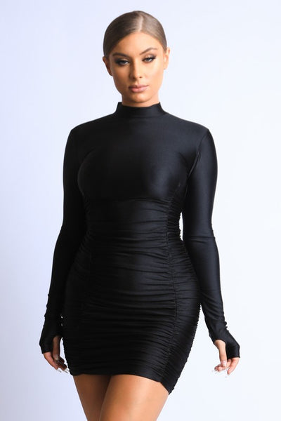 Long Sleeve Gathered Dress with Thumbholes