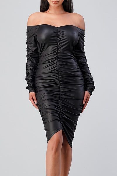 Long Sleeve Off Shoulder PU Ruched Dress
