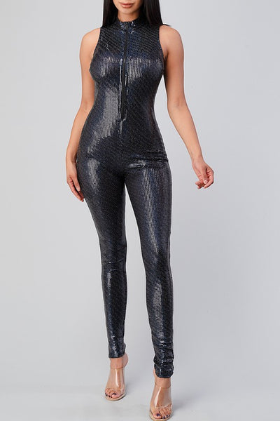 Sleeveless Sequin Zip Up Jumpsuit