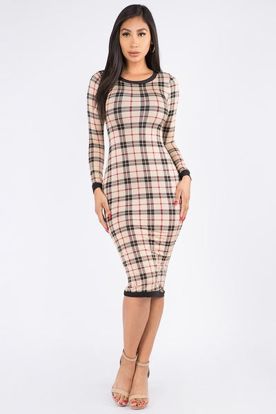 Contrast Long Sleeve Plaid Mini Dress