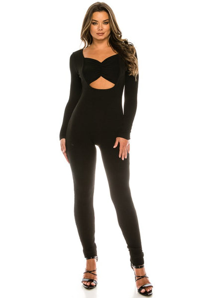 Chest Band Detail Long Sleeve Jumpsuit