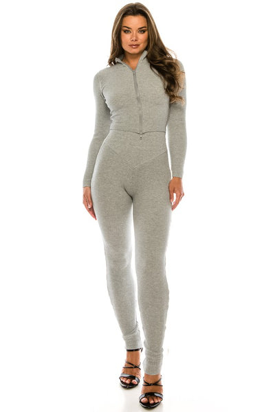 Zip Up Long Sleeve Top &  Pant Set