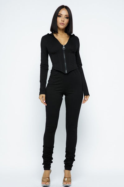Corset Detail Crop Top with Hoodie And Ruched Leg Pants