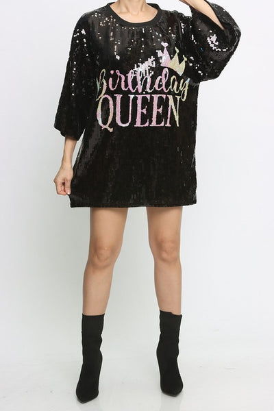 'BIRTHDAY QUEEN' Sequins T Shirt Dress