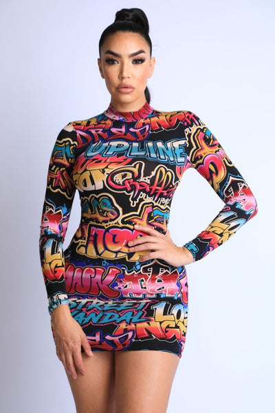 Graffiti Mock Neck Mini Dress