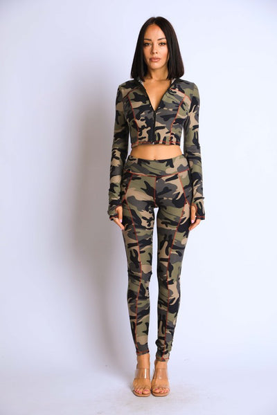 Camo Track Top and Legging Set