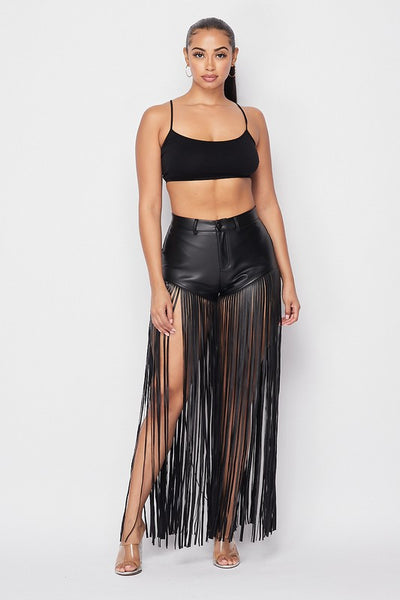 PU Fringe All Over Short