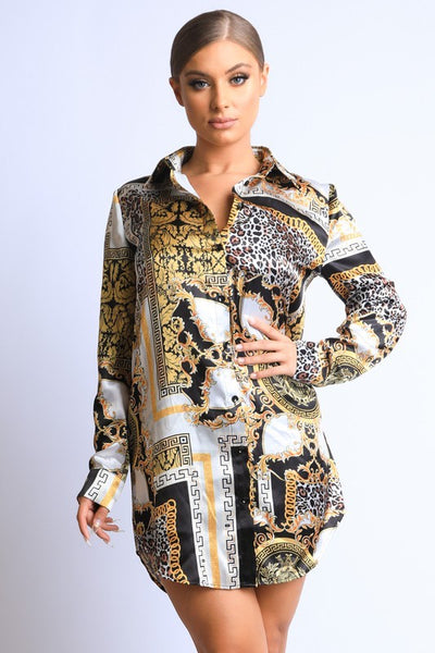Scarf Printed Silky Shirt Dress