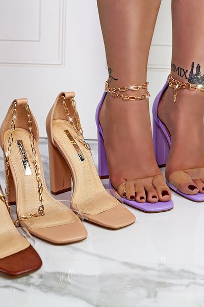 High Heel Clear Sandals with Chain