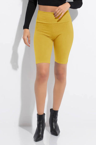 Solid Waist Band Biker Short