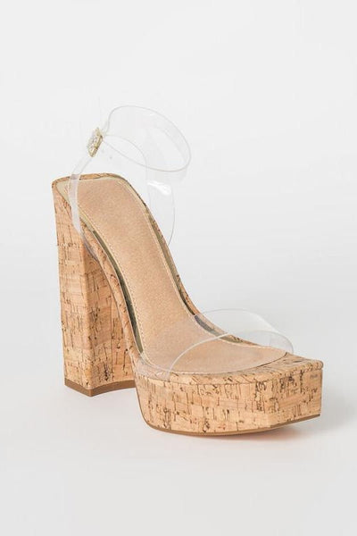 Cork Heel with Clear Straps