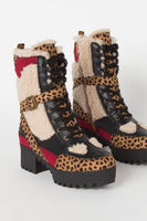 Cheetah Lace Up Platform Bootie with Fur Vamp