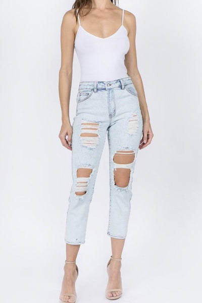 High Rise Destroyed Crop Straight Leg Jean